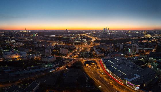 Ночная аэропанорама Москвы